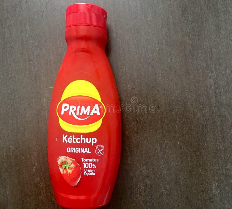 Prima ketchupu oryginalna butelka od Hiszpania zdjęcia royalty free
