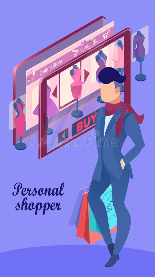 Prima konsulent Poster Template för online-kläder stock illustrationer