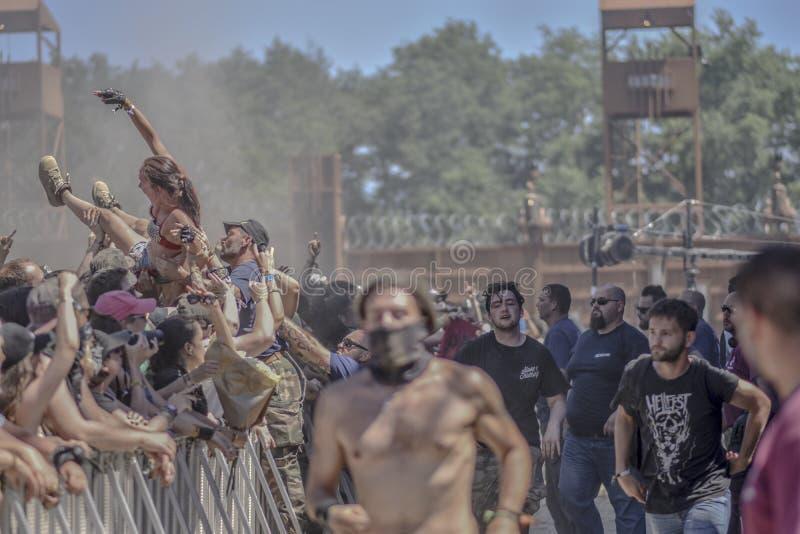 Prima linea in warzone, festival di Hellfest fotografia stock libera da diritti