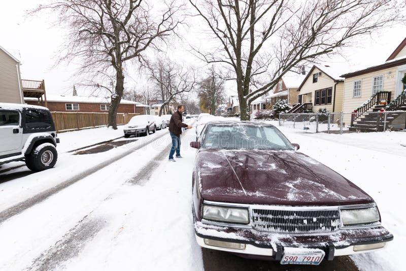 Prima neve in Chicago: 2016 immagine stock libera da diritti