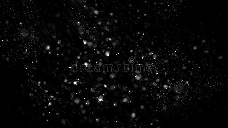 Prima struttura di caduta del bokeh della neve su fondo nero Struttura di inverno Elemento di disegno immagine stock