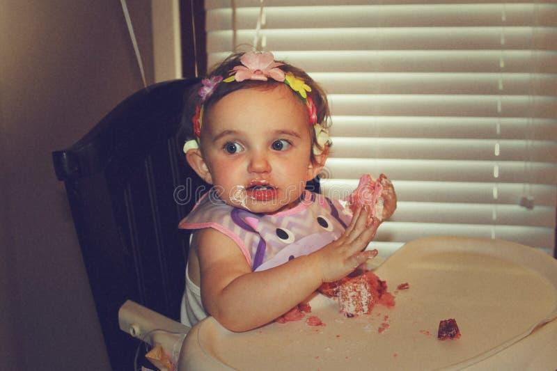 Prima torta di compleanno fotografie stock