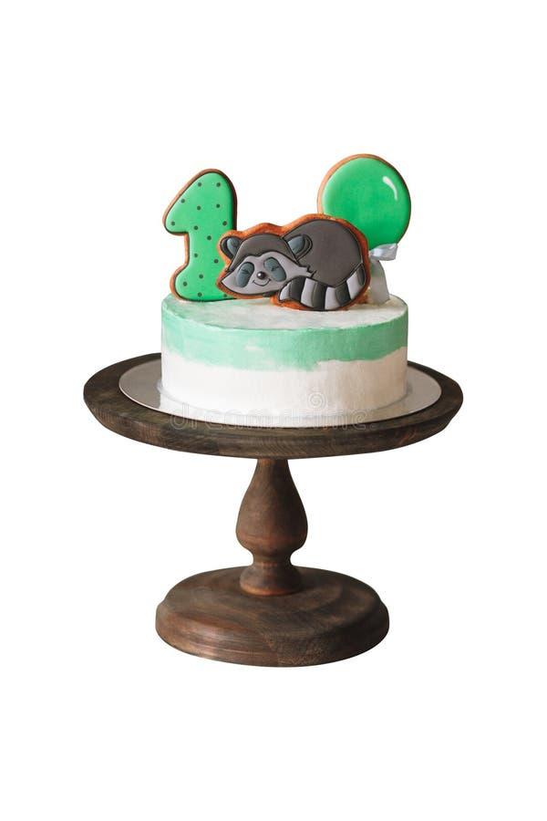Prima torta di compleanno isolata su fondo bianco immagini stock