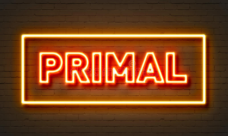 Primal neon sign on brick wall background. vector illustration