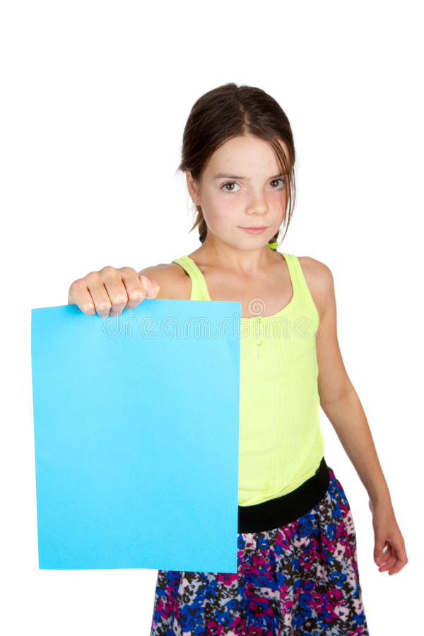 Primary Aged Girl Holding Sheet Of Paper Stock Images