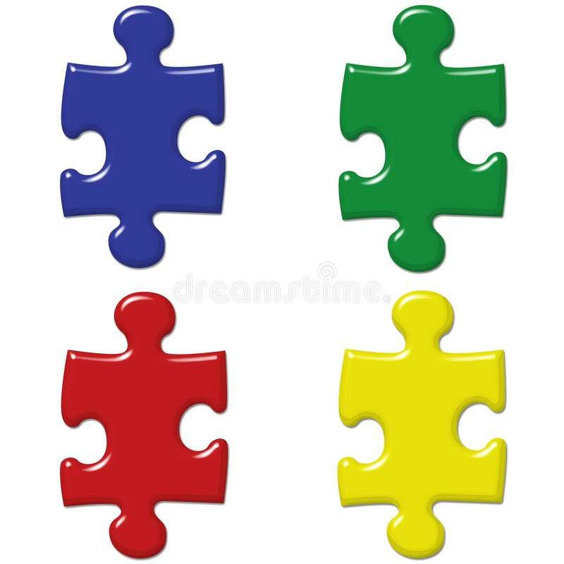 Download Primary Colored Puzzle Pieces Stock Illustration - Illustration of green, puzzle: 6375554