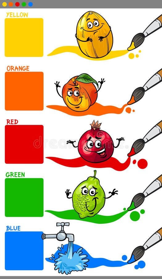 Primary colors with cartoon fruits. Cartoon Illustration of Main Colors with Funny Fruits Educational Set for Preschool Kids vector illustration