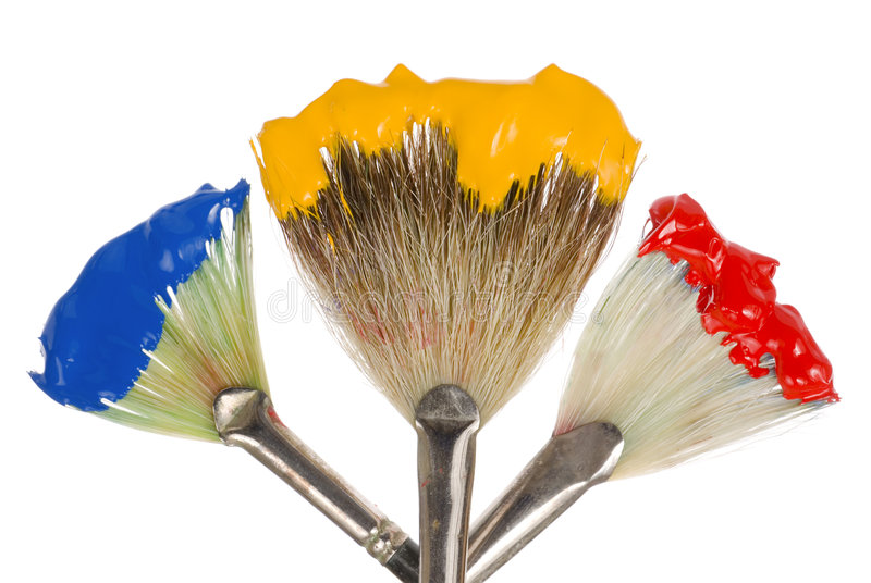 Download Primary Colors On Fan Brushes Stock Image - Image: 7598855