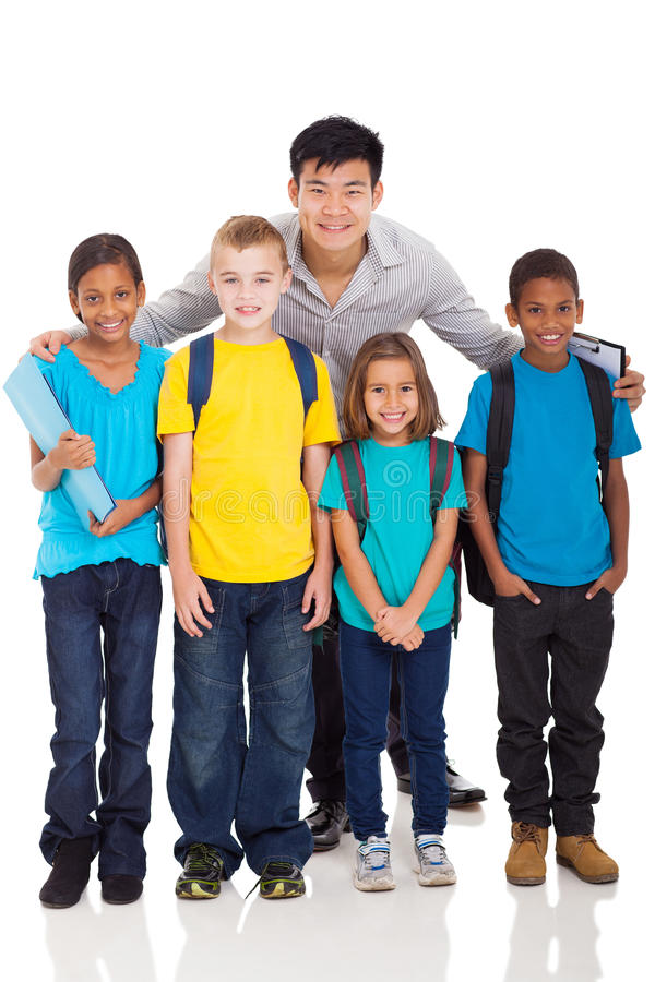 Primary kids teacher stock image. Image of full, handsome - 32554433