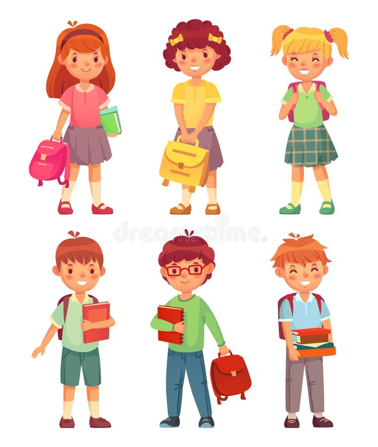 Primary school kids. Cartoon children pupils with backpack and books. Happy boy and girl pupil in schools uniform vector. Primary school kids. Cartoon children royalty free illustration