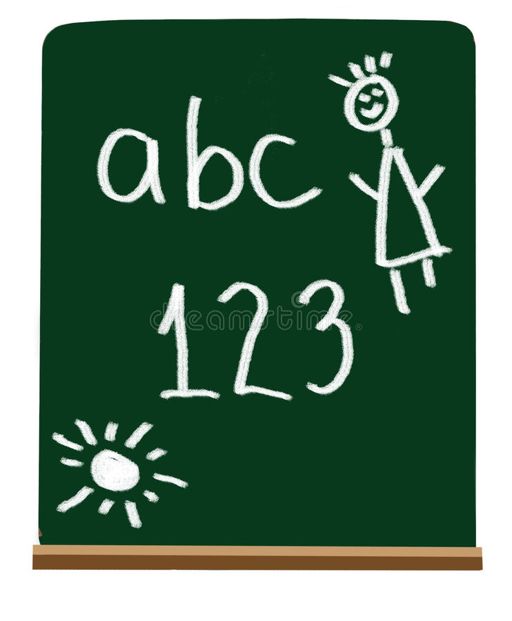 Primary school letters and numbers stock illustration