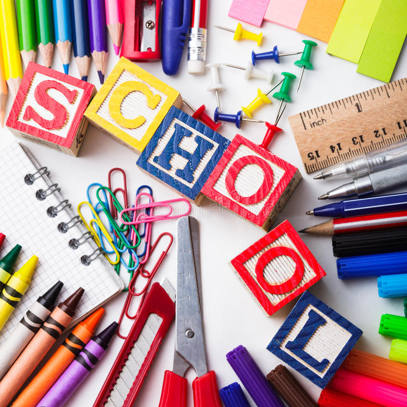 Download Primary school stationery stock illustration. Illustration of back - 25993760