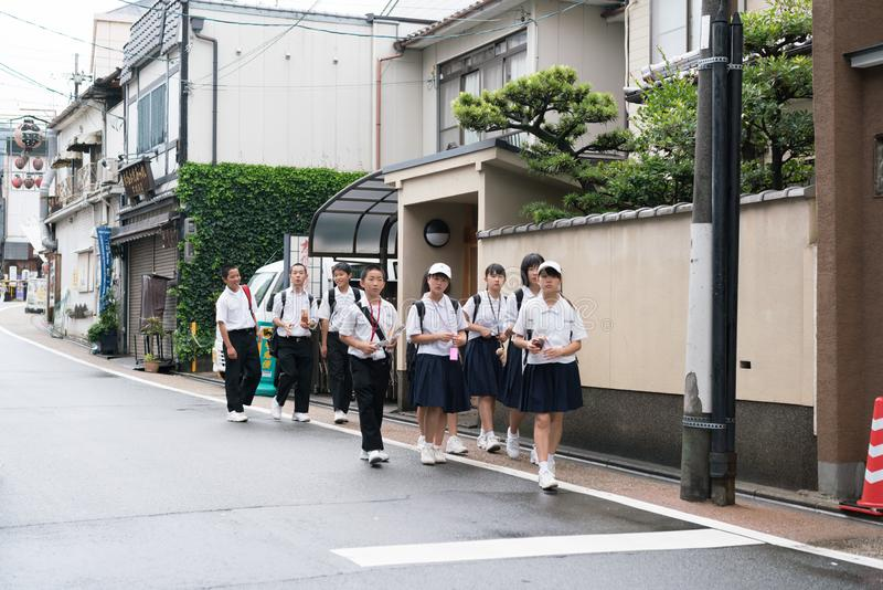 Primary school student in Japan royalty free stock images