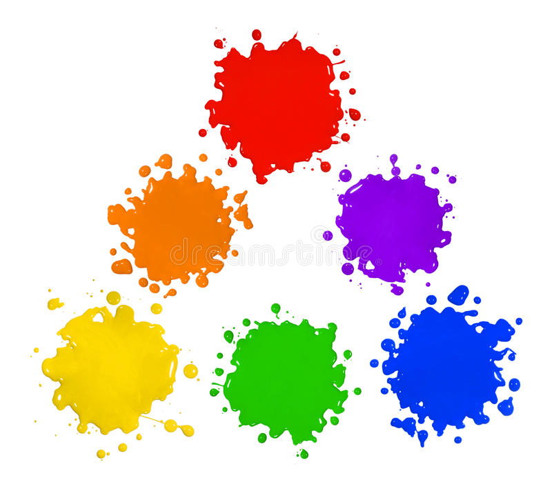 Primary and Secondary Colors in Paint Splatters. Primary and secondary colors in paint splatter isolated over white background
