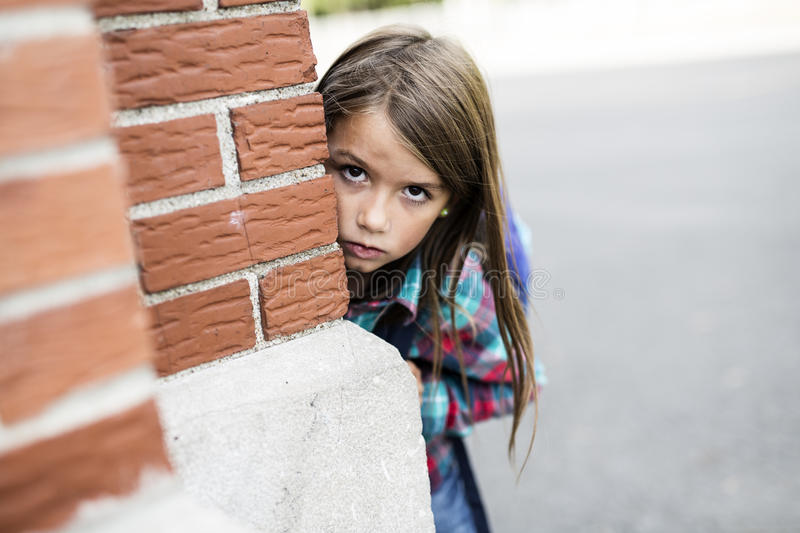 Primary student depress at the school. An primary student depress at the school stock images
