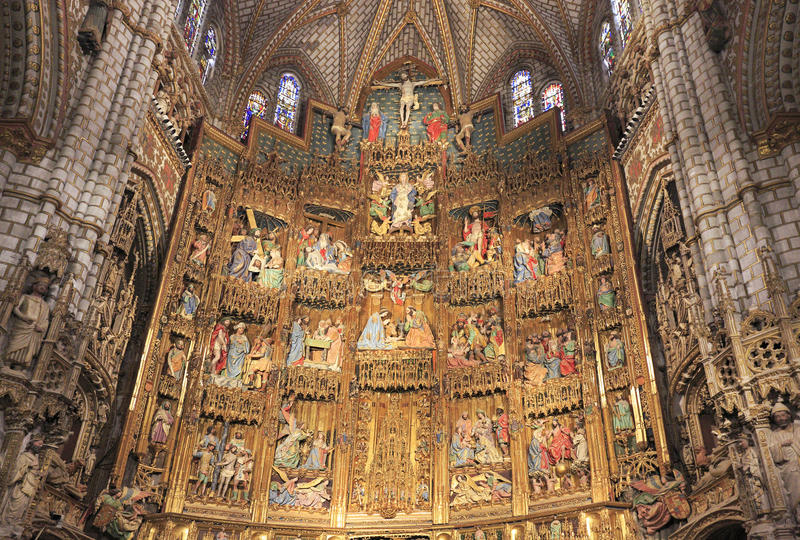 Primatdomkyrkan av St Mary av Toledo, Spanien royaltyfri bild