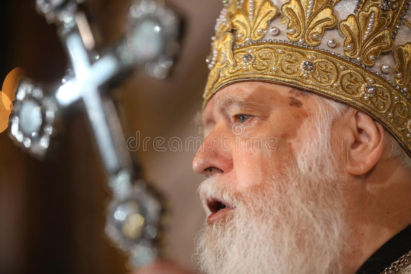 Primate of Ukrainian Orthodox Church Kiev Patriarchate Filaret. KIEV, UKRAINE - Jun 28, 2015: Primate of Ukrainian Orthodox Church Kiev Patriarchate Filaret royalty free stock images