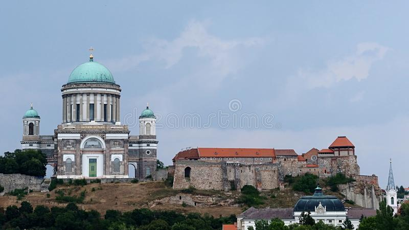 Primatial Basilica of the Blessed Virgin Mary Assumed Into Heaven and St Adalbert and Esztergom Castle stock image