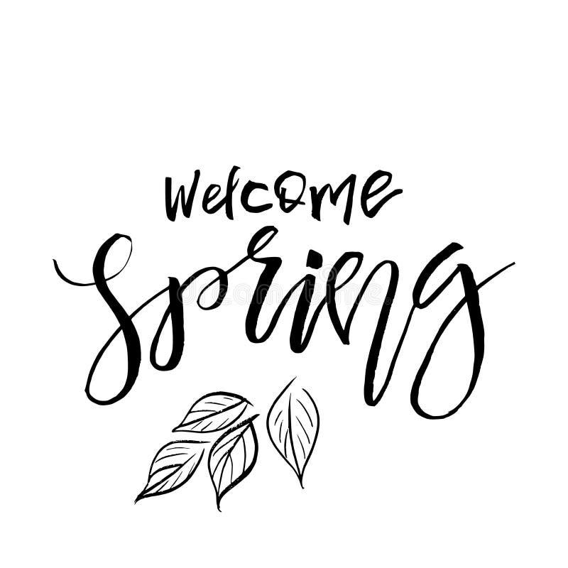 Primavera agradable - cita dibujada mano de la inspiración Tipografía del vector libre illustration