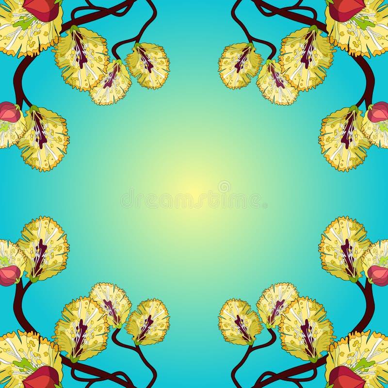Primavera amarilla de la flor de la rama del sauce Ilustración del vector libre illustration
