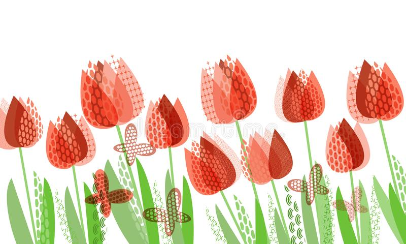 Primavera brillante abstracta, estampado de flores ilustración del vector