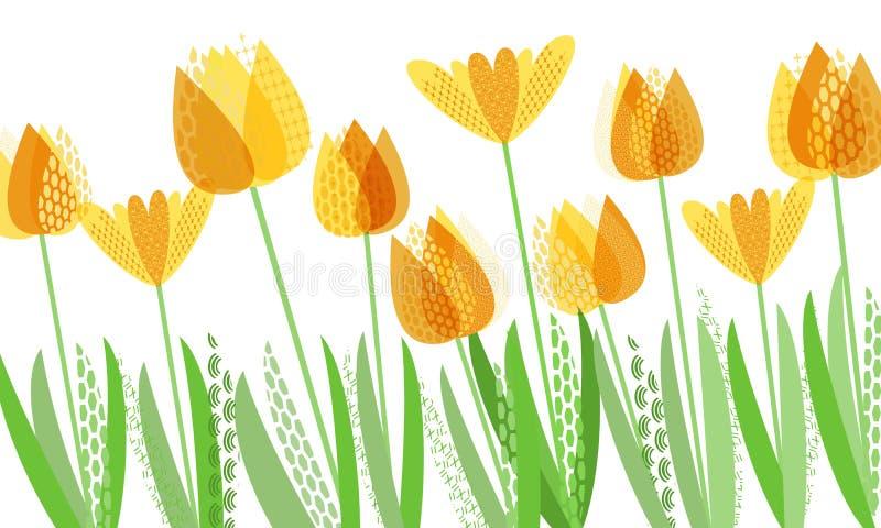 Primavera brillante abstracta, estampado de flores libre illustration