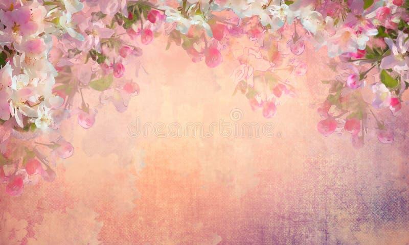 Primavera Cherry Blossom Painting stock de ilustración