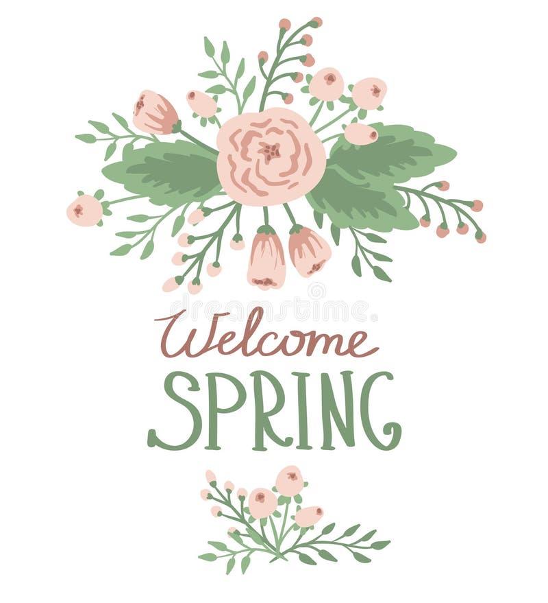 Primavera con los elementos florales libre illustration