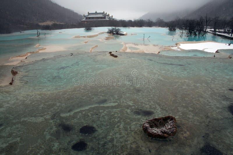 Primavera de agua esmeralda con el templo chino en el fondo foto de archivo libre de regalías
