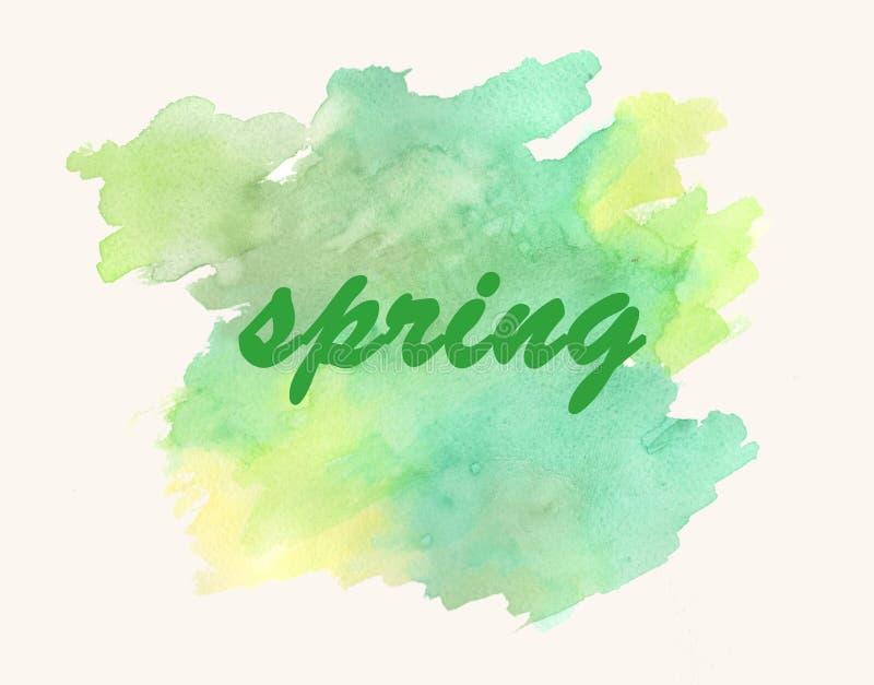 Primavera de la inscripción tarjeta watercolor libre illustration