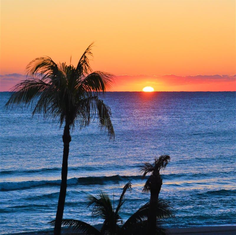 Primavera di colori di alba dal nuovo Sun fuori dalla spiaggia del sud di Florida fotografie stock