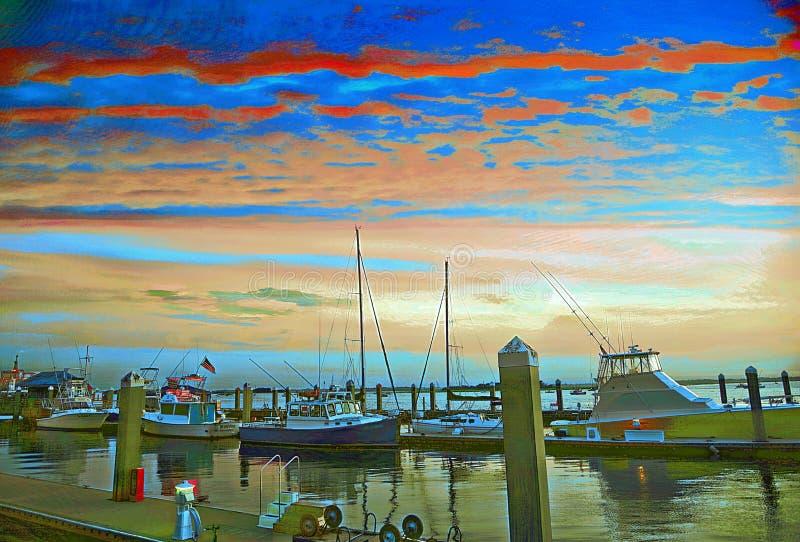 Primavera di colori di alba di Pasqua dal nuovo Sun fuori dalla spiaggia del sud di Florida fotografia stock