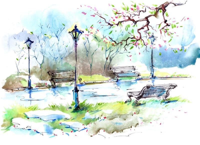 Primavera en la ciudad ilustración del vector