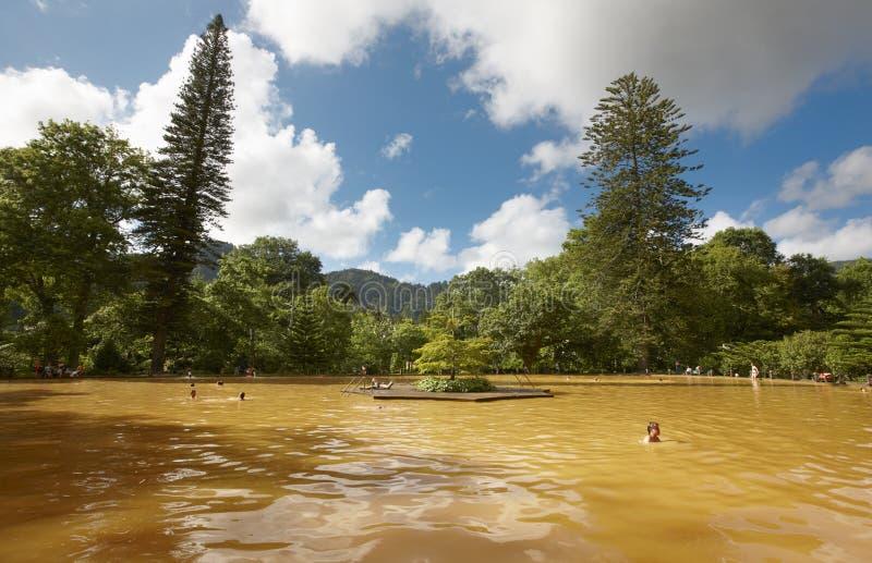 Primavera ferruginosa de la agua caliente en el sao Miguel, Azores portugal imagen de archivo libre de regalías