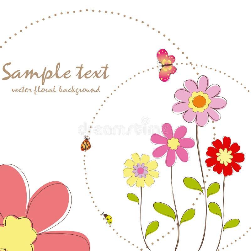 Primavera floral com cartão da borboleta ilustração stock