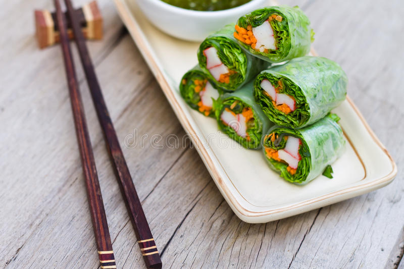 Primavera fresca Rolls, stile vietnamita dell'alimento immagini stock libere da diritti