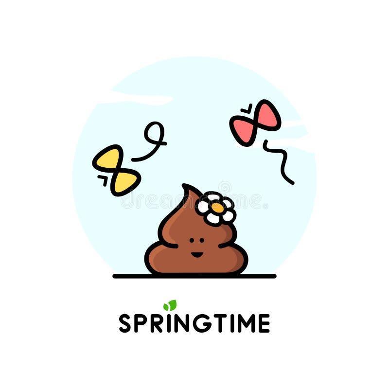 Primavera - impulso divertido con la flor libre illustration