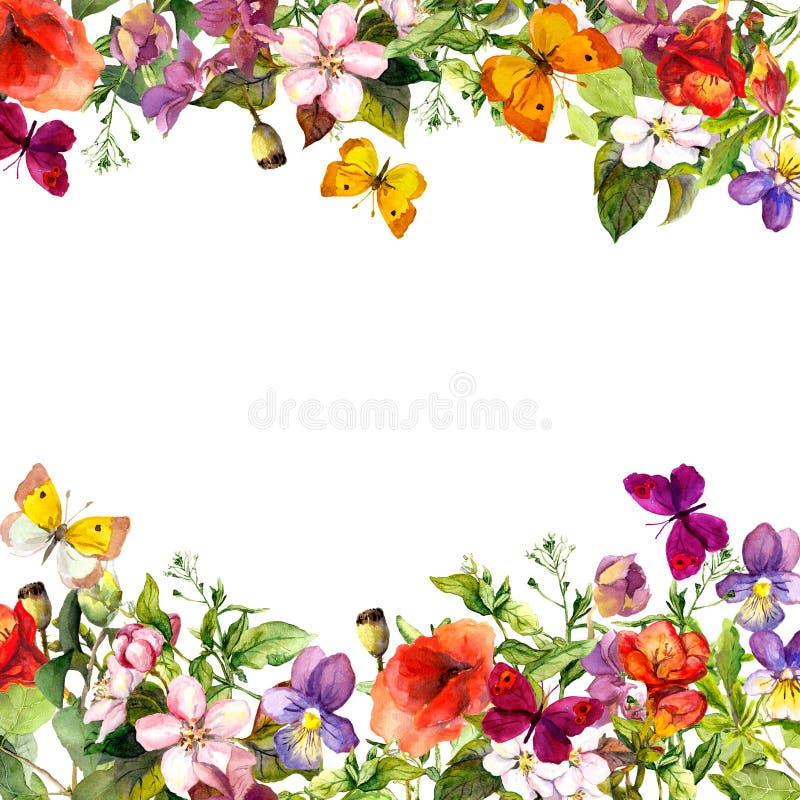 Primavera, jardín del verano: flores, hierba, hierbas, mariposas Modelo floral watercolor