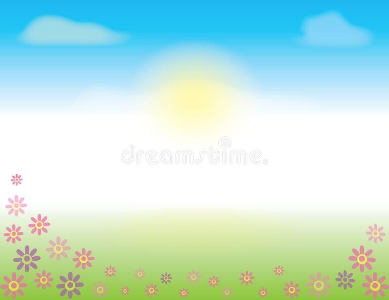 Primavera o cielo del verano con las flores en la hierba libre illustration