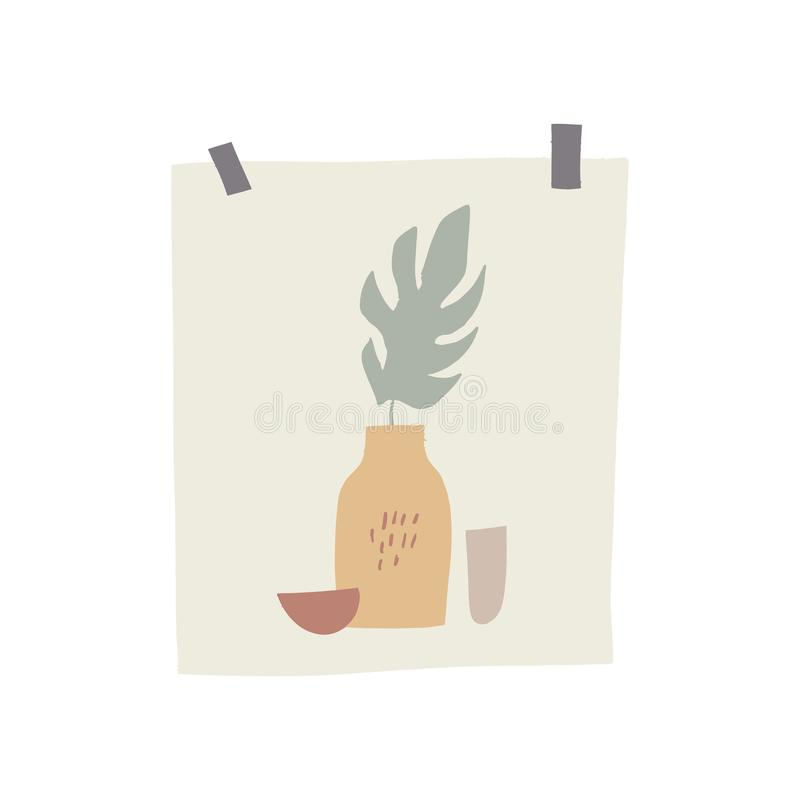 Primavera o elemento del tablero del humor del verano Decoración de moda en estilo escandinavo, postal exhausta de la mano con la stock de ilustración