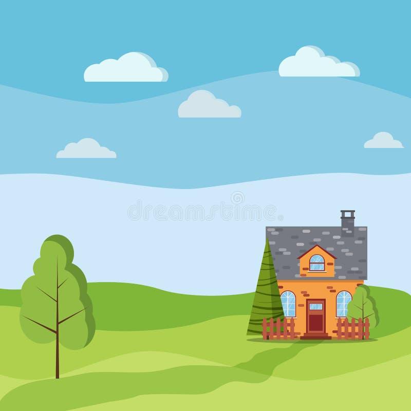 Primavera o paisaje del verano con la casa de la granja del pueblo del ladrillo de la historieta con el ático, chimenea, cercas libre illustration