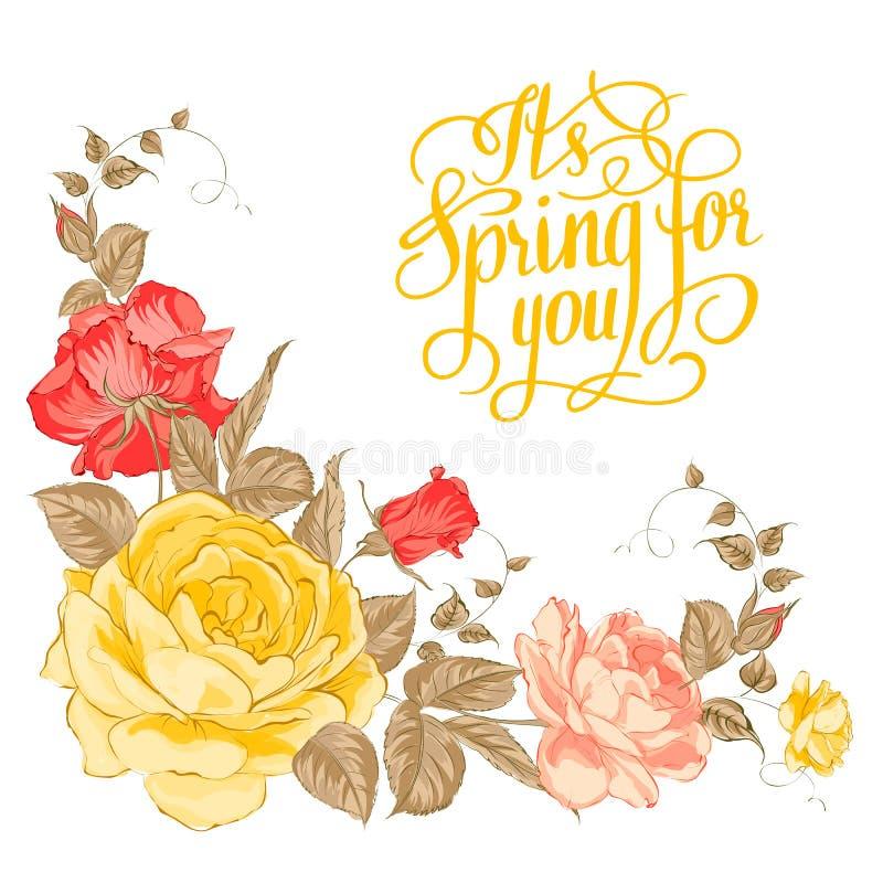 Primavera para usted. Texto caligráfico. libre illustration