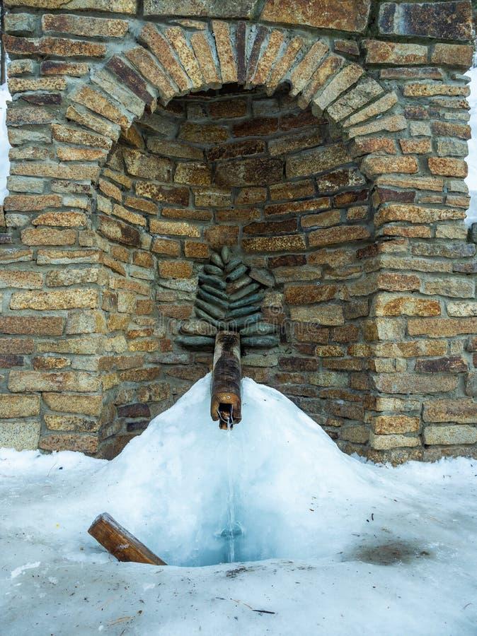 Primavera que sale a raudales de la tierra y que no congela incluso en invierno en Altai, Rusia fotos de archivo