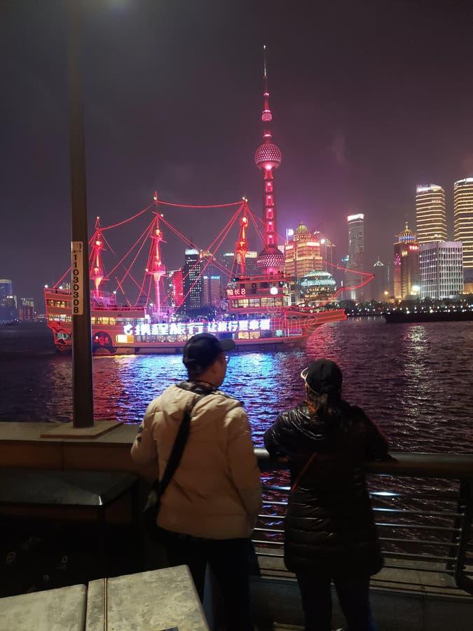 Primavera Shangai festable en el río fotos de archivo