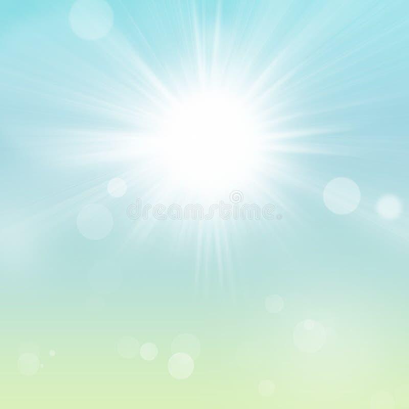 Primavera Sun y fondo de la naturaleza del verde azul cielo ilustración del vector