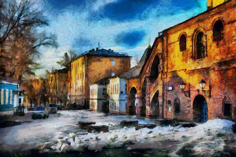 Primavera temprana de la pintura al óleo en la ciudad ilustración del vector