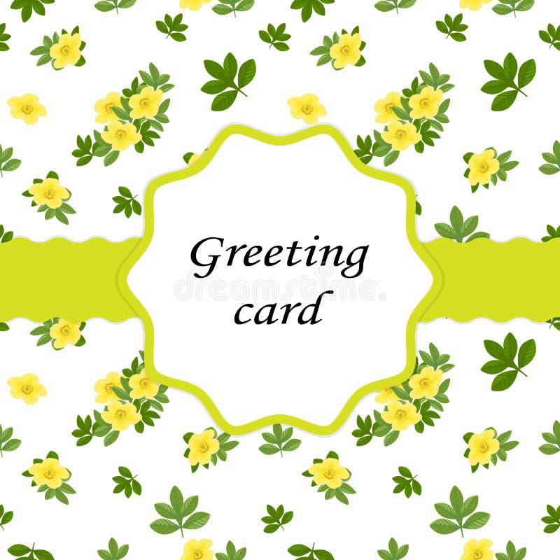 Primavera, verano, concepto femenino Pequeñas flores amarillas del Poten stock de ilustración
