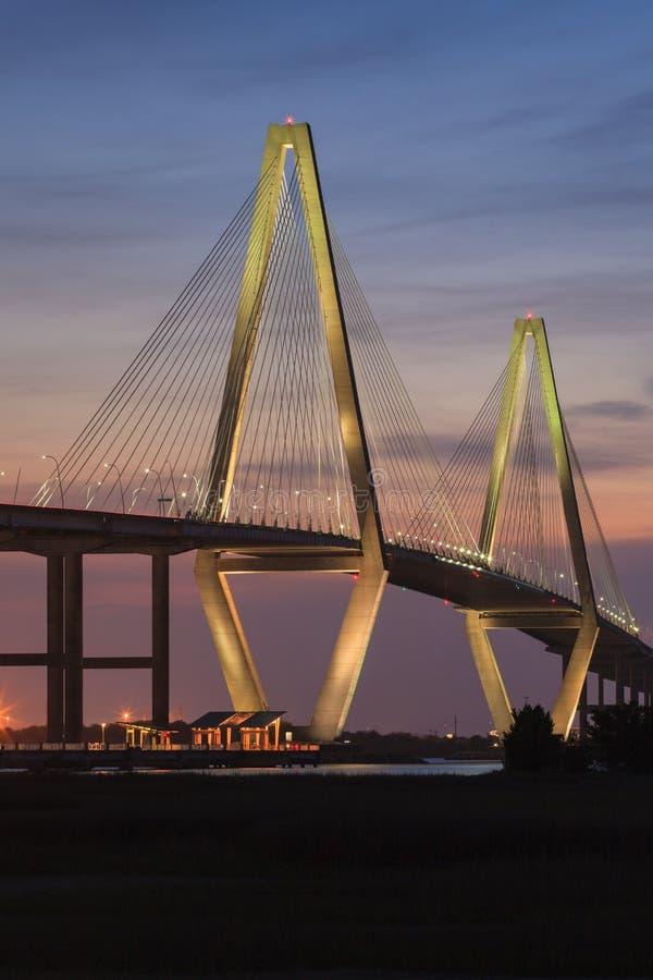 Primavera verticale 2015 del ponte di Ravenel fotografia stock