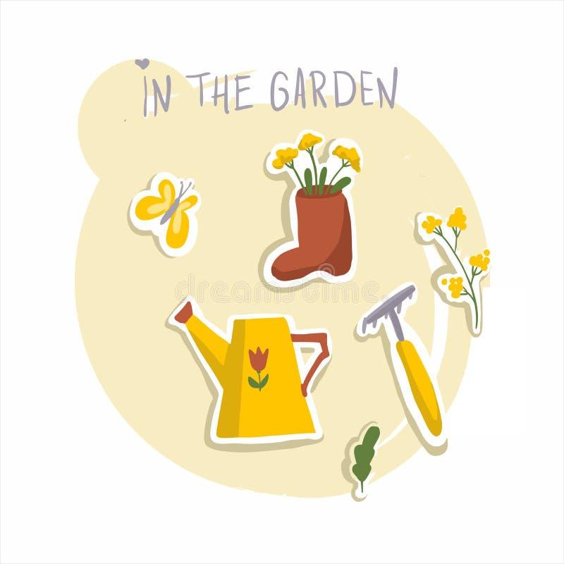 Primavera y verano Trabajo en el jard?n Mariposa, regadera, flores, rastrillo, bota imagen de archivo