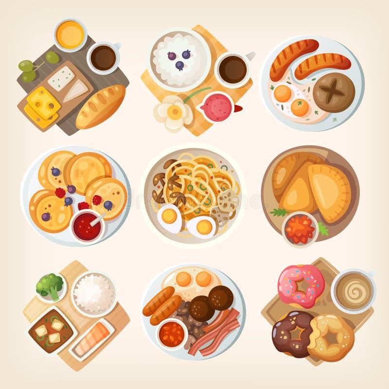Prime colazioni tradizionali da ogni parte del mondo royalty illustrazione gratis